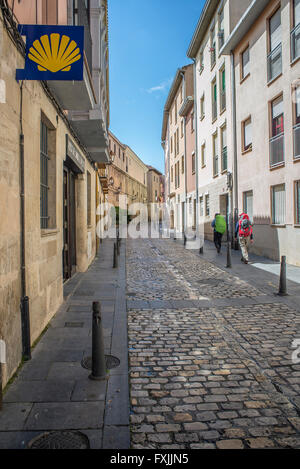 Pilgrims on the Way of St. James in Ruavieja street of Logroño, La Rioja. Spain. - Stock Photo