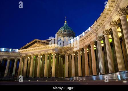 Night scene of Kazan (Kazanskiy) Cathedral in Saint-Petersburg. Russia. Located on Nevsky Prospekt in the center - Stock Photo
