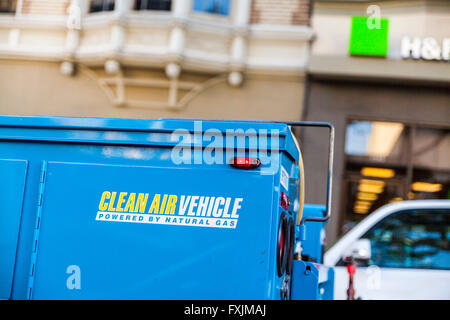 A Clean Air Vehicle sign on a PGE truck in San Francisco California - Stock Photo