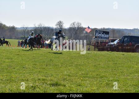 Steeplechase riders at My Lady's Manor Steeplechase Races in Monkton, MD. - Stock Photo