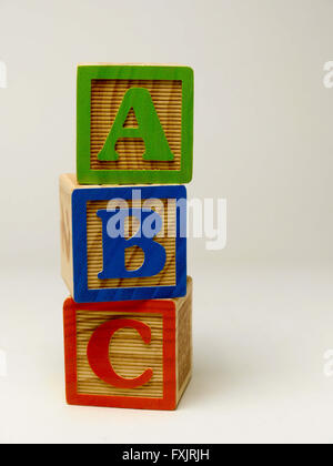 Kid's building blocks spelling the word abc. - Stock Photo
