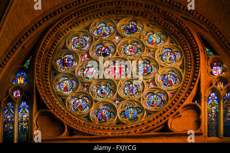 Rose Window Jesus Christ Saints Disciples Mary Stained Glass Cathedral Spanish Flag Toledo Spain. - Stock Photo