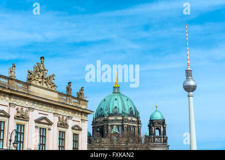 The TV Tower, the Dom and the Museum of History in Berlin, Germany - Stock Photo