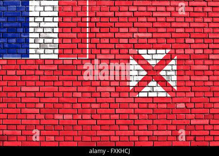 flag of Wallis and Futuna painted on brick wall - Stock Photo