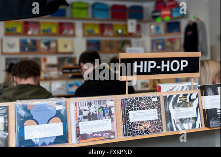 London, UK. 16 April 2016.  Fans of vinyl visit record shops in and around Berwick Street in Soho today, on Record - Stock Photo