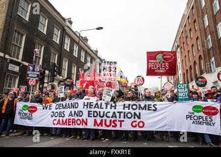 London, UK. 16th April, 2016. Thousands of people representing many different campaign groups join the March for - Stock Photo
