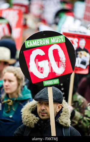 London, UK. 16th April, 2016. Major Anti-Austerity Demonstration, backed by major trade unions, campaign organisations - Stock Photo