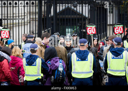London, UK. 16th April, 2016. Tens of thousands of people attend the Peoples Assembly demonstration, London. Credit: - Stock Photo