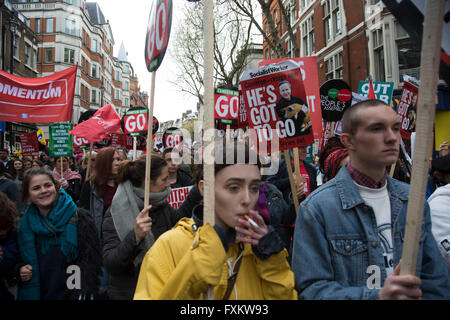 London, UK. 16th April, 2016. Peoples Assembly Against Austerity demonstration against cuts for health, homes, jobs - Stock Photo