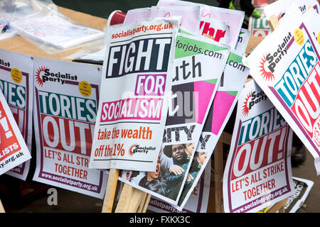 London, UK 16th April 2016 - Cameron Must Go National Demonstration, people have gathered to march from Euston Road - Stock Photo