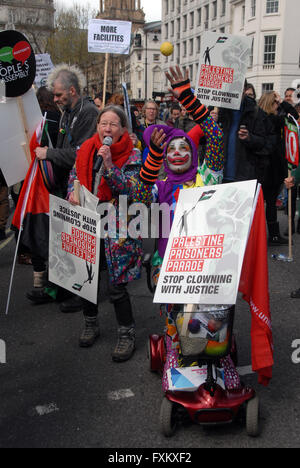 London UK 16 April 2016 A hundred thousand people turned out to march through London to Trafalgar Square to protest - Stock Photo