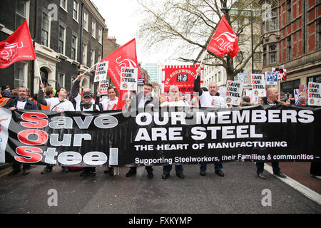 London, 16 April 2016 - Thousands of protesters take part in The People's Assembly's national demonstration by marching - Stock Photo
