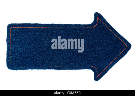 Pointer made of denim fabric with yellow stitching on red for Space made of fabric