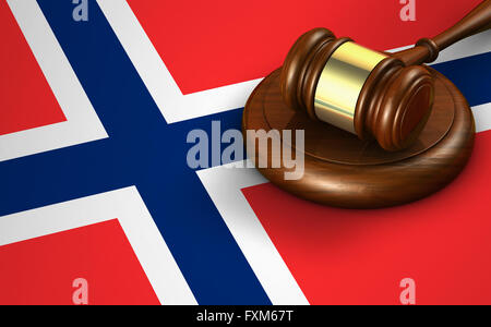Norway laws, legal system and justice concept with a 3D rendering of a gavel and the Norwegian flag on background. - Stock Photo