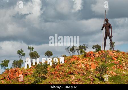 Huge iron sculpture of an aboriginal man in Aileron. - Stock Photo