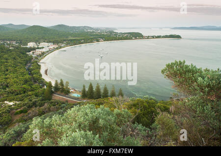 View over Shoal Bay at dawn. - Stock Photo