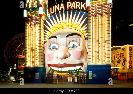 Entrance of Sydney's famous Luna Park, right under the Harbour Bridge. - Stock Photo