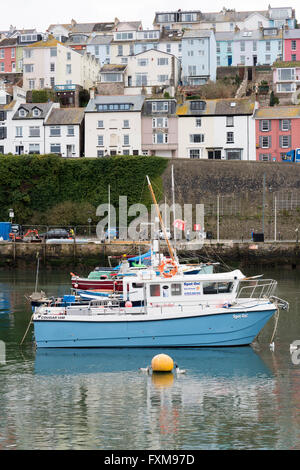 Fishing boats moored in the harbour at the fishing port of Brixham Devon UK - Stock Photo