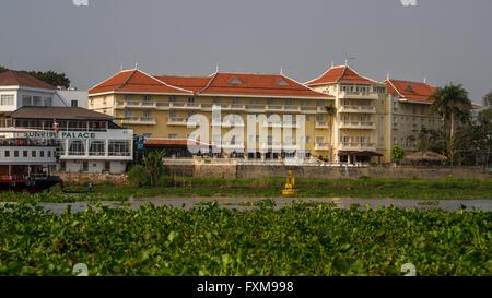 Views of the Victoria Chau Doc Hotel from the Mekong River, Chau Doc, Vietnam - Stock Photo