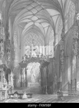 BELGIUM: Chapel of St Gudule, Brussels: Wright, antique print 1840 - Stock Photo
