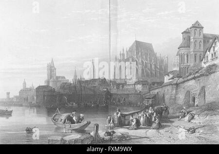 GERMANY: Cologne, Rhine: Leitch, antique print 1845 - Stock Photo