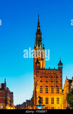 Main City Town Hall at night. The Long Market is existing since the 17th century, Gdansk, Pomerania, Poland, Europe - Stock Photo