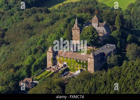 Aerial view, Hotel Burg Schnellenberg, aerial, Burg Schnellenberg, Sauerland, North Rhine-Westphalia, Germany, Europe, - Stock Photo