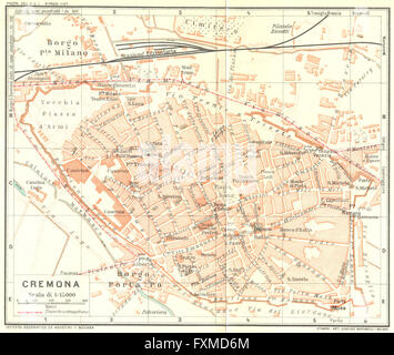 CREMONA Vintage town city map plan Italy 1924 Stock Photo