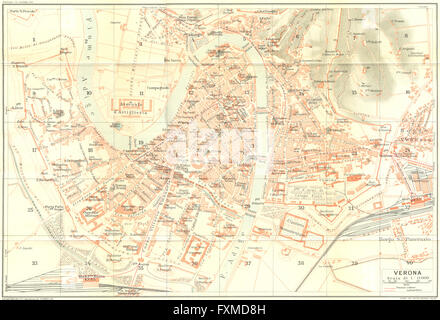 ITALY Verona town city plan c1879 antique map Stock Photo