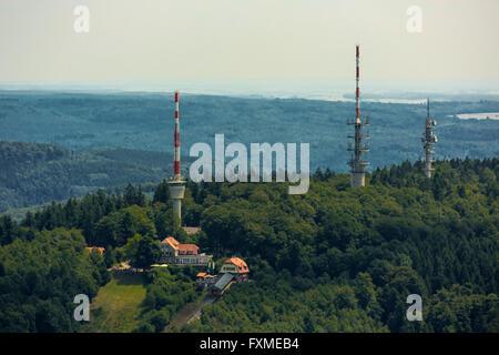 Aerial view, TV antennas, converter, television tower over Heidelberg, Heidelberg, Rhein-Neckar-Kreis, Baden-Wuerttemberg, - Stock Photo