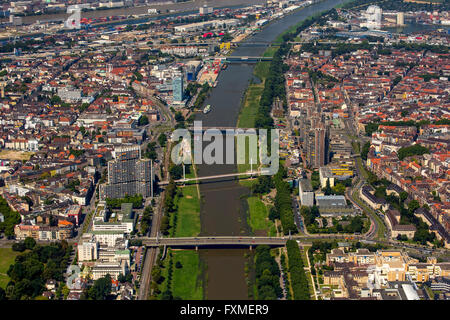 Aerial view, overlooking the River Neckar in Mannheim, Mannheim, Baden-Württemberg, Germany, Europe, Aerial view, - Stock Photo