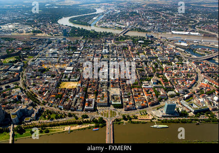 Aerial view, squares Mannheim, Old Town, overlooking the River Neckar in Mannheim, Mannheim, Baden-Württemberg, - Stock Photo
