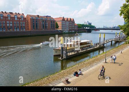 Weser River, Bremen, Germany - Stock Photo