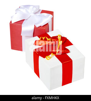 two gift box decorated silk red ribbon and bow, object on white studio background isolated - Stock Photo