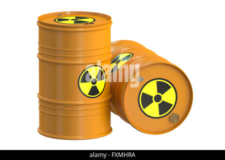 Radioactive barrels, 3D rendering  isolated on white background - Stock Photo