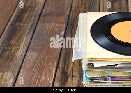 selective focus of records stack. vintage filtered - Stock Photo
