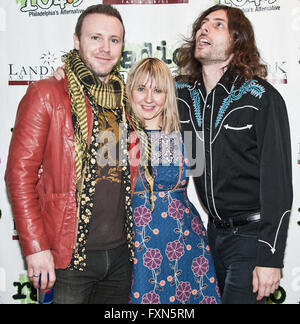 Bala Cynwyd, Pennsylvania, USA. 15th April, 2016. Welsh Alternative Rock Band The Joy Formidable Visit Radio 1045 - Stock Photo