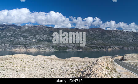 View of the Velebit mountains from the Pag island, Croatia - Stock Photo