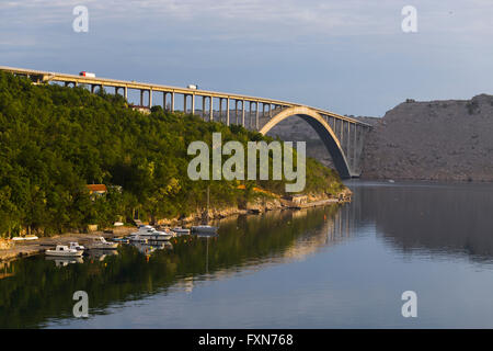 Bridge mainland - Krk island in Croatia - Stock Photo