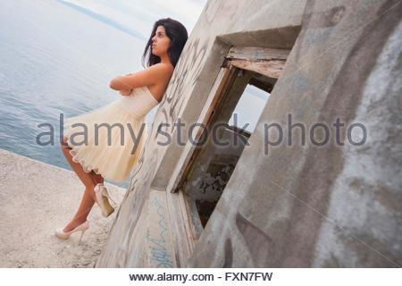 Teenager girl in prom dress outdoors attractive good-looking stilettos stiletto - Stock Photo