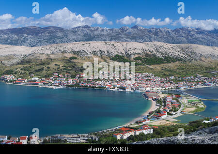 View of the Pag village in Croatia - Stock Photo