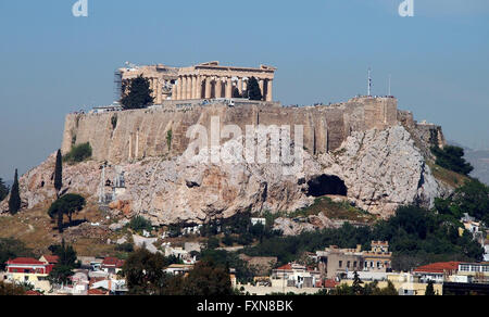 A view of the Parthenon on top of the Athenic Acropolis as seen from the Panathenaic Olympic Stadium in Athens, - Stock Photo
