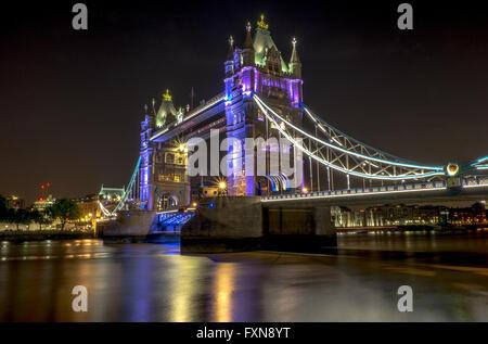 Night time image of London Tower Bridge - Stock Photo