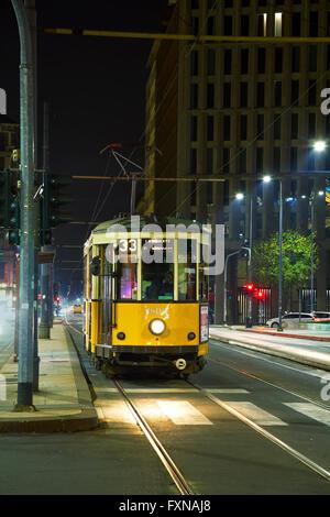 MILAN, ITALY - NOVEMBER 25: Old tram near Milano Centrale on November 25, 2015 in Milan, Italy. - Stock Photo