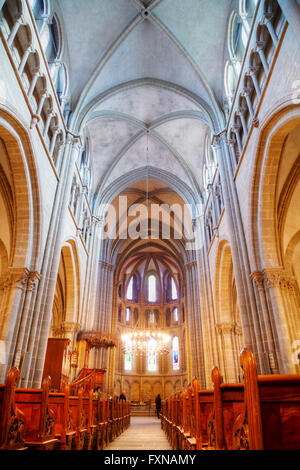 GENEVA, SWITZERLAND - NOVEMBER 28: St Pierre Cathedral interior with people on November 28, 2015 in Geneva, Switzerland. - Stock Photo