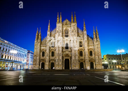 Duomo cathedral early in the morning in Milan, Italy. - Stock Photo
