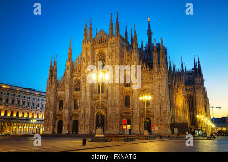 Duomo cathedral early in the morning in Milan, Italy - Stock Photo