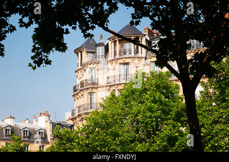 Typical houses in Paris. - Stock Photo
