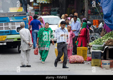 Street Scene in a small village near Simla, Himachal Pradesh, India, - Stock Photo