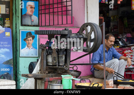 Sugar Cane crushing machine, near Dharamsala, Kangra Distict, Himachal Pradesh, India, - Stock Photo